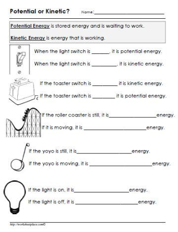 Energy 4th Grade Worksheets Potential or Kinetic Energy Worksheet