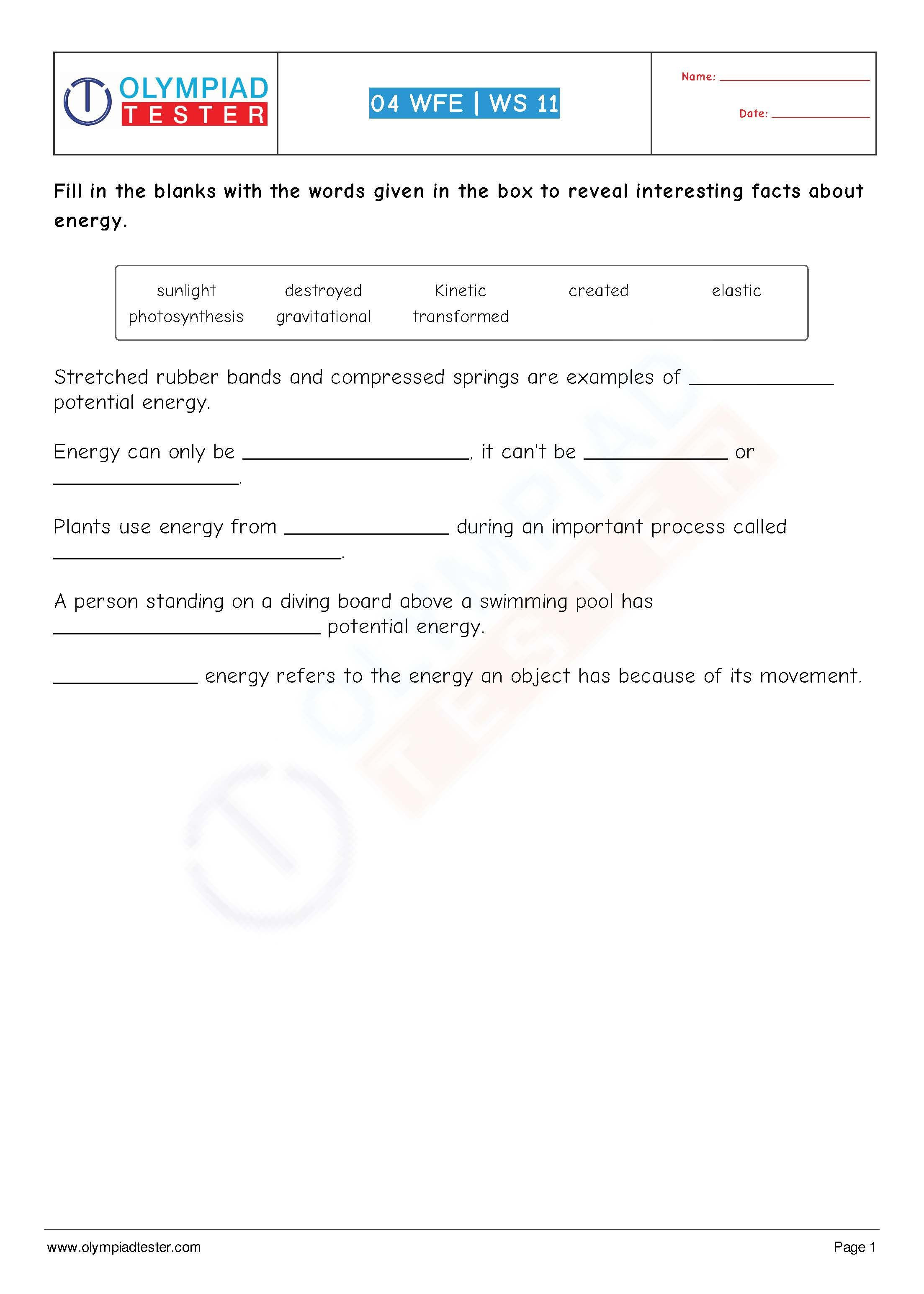 Energy Worksheets for 4th Grade 4th Grade Science Worksheets Energy