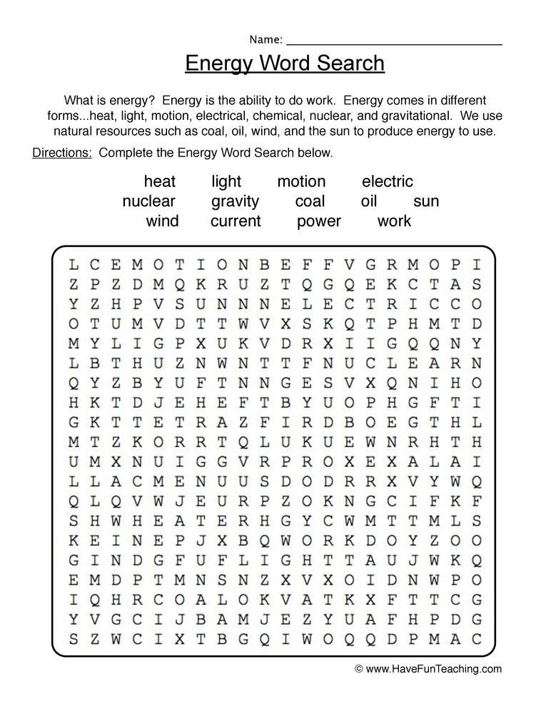 Energy Worksheets for 4th Grade Energy Wordsearch Worksheet
