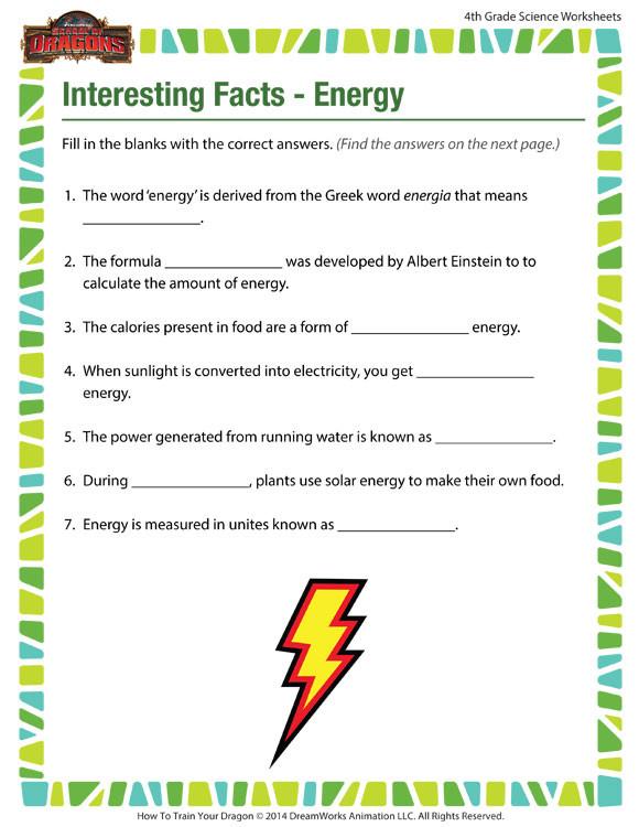 Energy Worksheets for 4th Grade Interesting Facts Energy View – 4th Grade Worksheets – sod