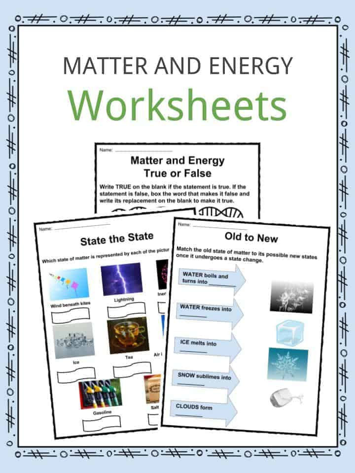 Energy Worksheets for 4th Grade Matter and Energy Facts Worksheets & Information for Kids