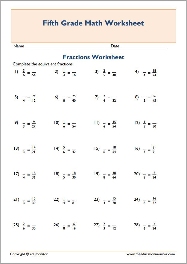 Equivalent Fraction Worksheets 5th Grade Equivalent Fractions Multiplication Worksheets
