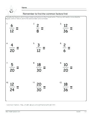 Equivalent Fraction Worksheets 5th Grade Fractions In Simplest form Worksheets Simplify Fraction