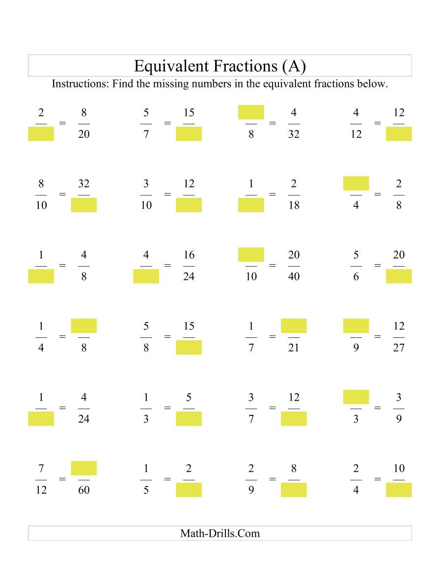 Equivalent Fraction Worksheets 5th Grade Missing Numbers In Equivalent Fractions A