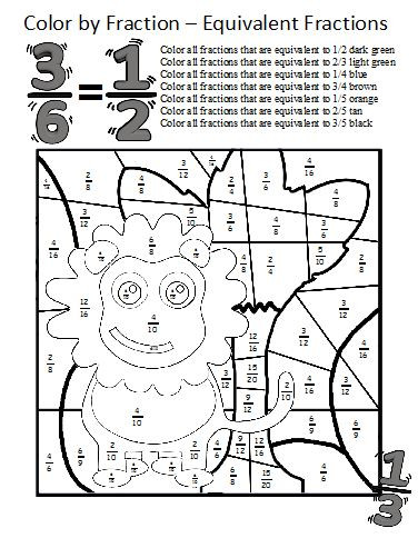 Equivalent Fractions Coloring Worksheet Color by Fractions Kaylee S Education Studio