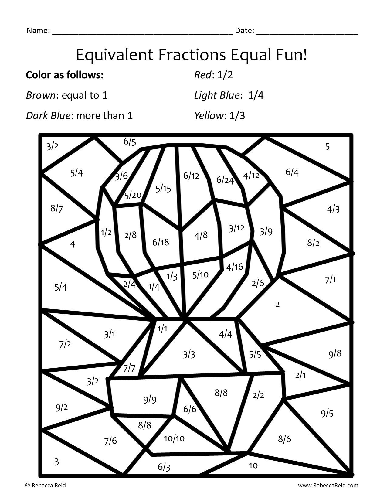 Equivalent Fractions Coloring Worksheet Equivalent Fractions Coloring Worksheet – Colorin9