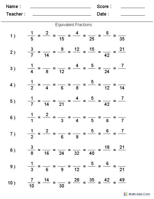 Equivalent Fractions Worksheets 5th Grade Fractions Worksheets
