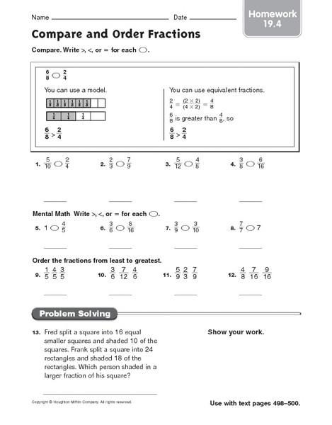 Equivalent Fractions Worksheets 5th Grade Pare and order Fractions Homework 19 4 Worksheet for