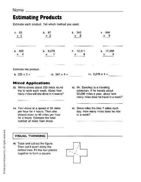 Estimating Products Worksheets 4th Grade Estimating Products Worksheet for 4th 6th Grade
