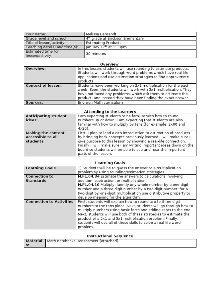 Estimating Products Worksheets 4th Grade Sample Math Lesson Plan Multiplication
