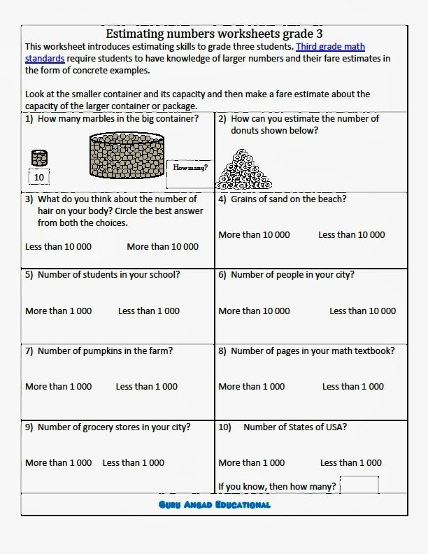 Estimating Sums Worksheets 3rd Grade Estimating Numbers