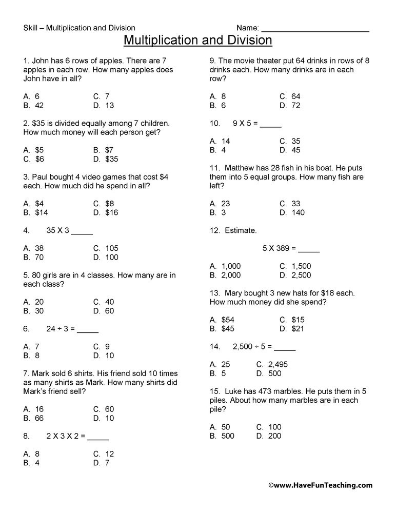Estimating Sums Worksheets 3rd Grade Third Grade Multiplication and Division Test Practice Worksheet