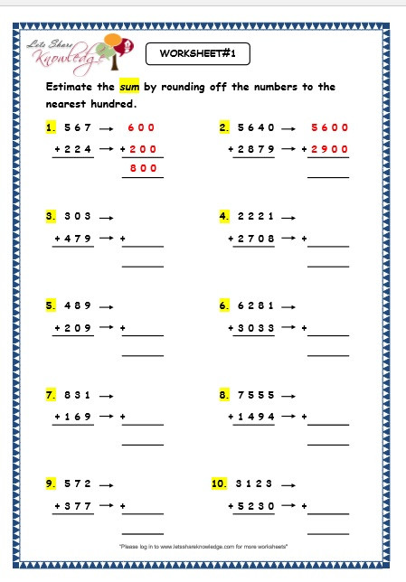 Estimation Worksheets for 3rd Grade Estimating Addition Worksheets & Rounding Estimation