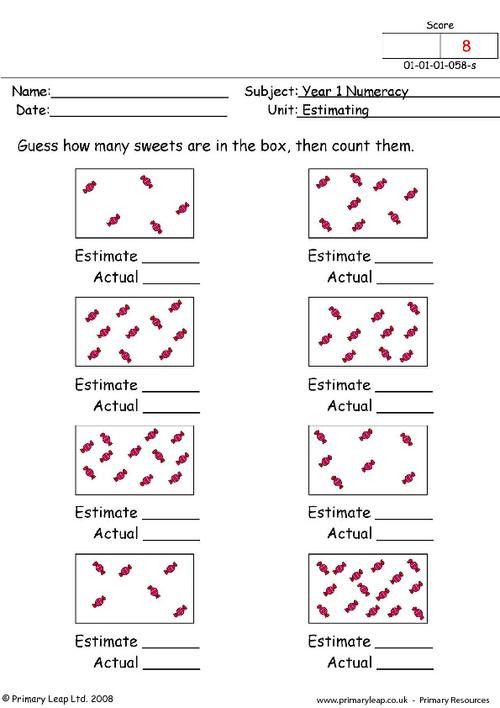 Estimation Worksheets for 3rd Grade Numeracy Estimating 1 Worksheet