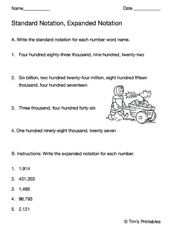 Expanded Notation Worksheets 3rd Grade Printable Standard & Expanded Notation Worksheets Tim S