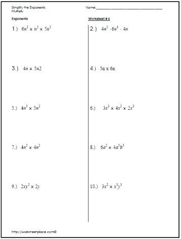 Exponents Worksheets 6th Grade Worksheets for Exponents – Leter