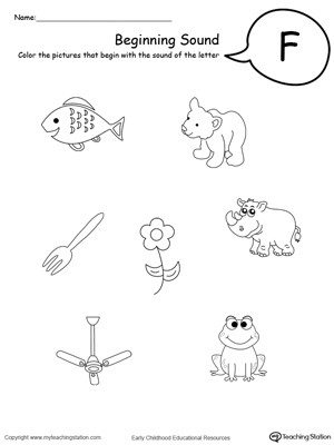 F Worksheets for Preschool Beginning sound Of the Letter F