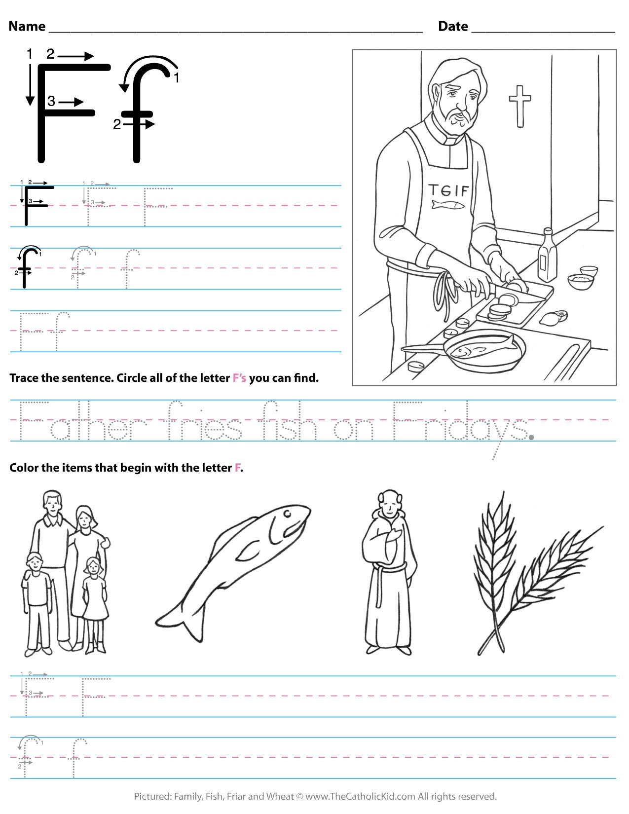 F Worksheets for Preschool Catholic Alphabet Letter F Worksheet Preschool Kindergarten