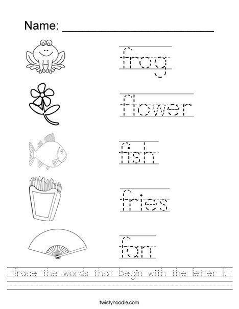 F Worksheets for Preschool Trace the Words that Begin with the Letter F Worksheet