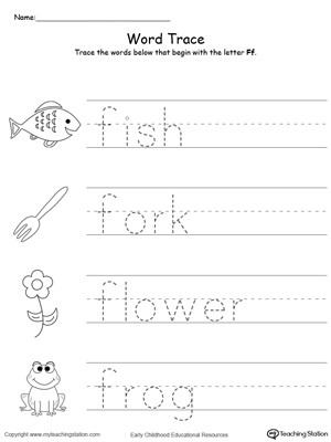 F Worksheets for Preschool Trace Words that Begin with Letter sound F