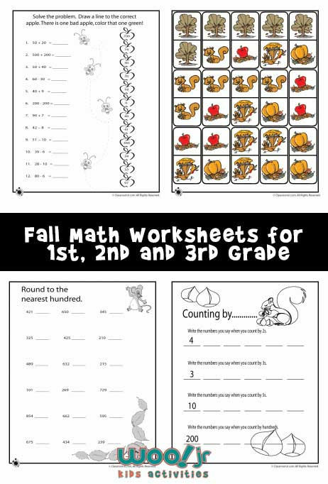 Fall Math Worksheets 2nd Grade Fall Math Worksheets for 1st 2nd & 3rd Grade