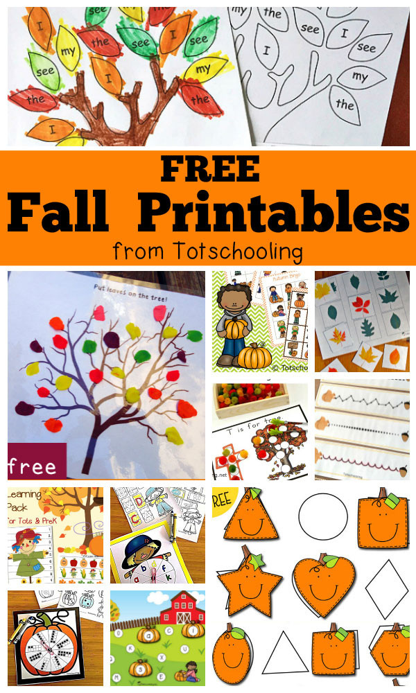 Fall Worksheets for Kindergarten Free Fall Printables for Kids