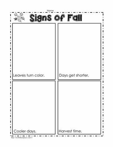 Fall Worksheets for Kindergarten Signs Of Fall Worksheets