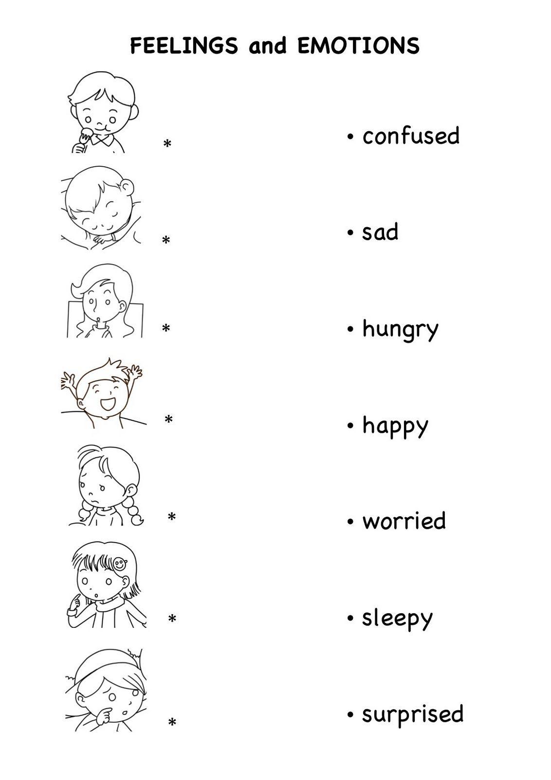 Feelings and Emotions Worksheets Printable ปักพินโดย Yuppadee Wongwai ใน ใบงานอนุ ในปี 2020