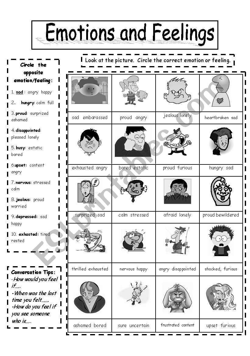 Feelings and Emotions Worksheets Printable Emotions and Feelings Black White Copymaster Esl Worksheet