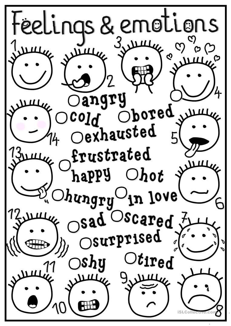 Feelings and Emotions Worksheets Printable English Esl Feelings and Emotions Worksheets Most