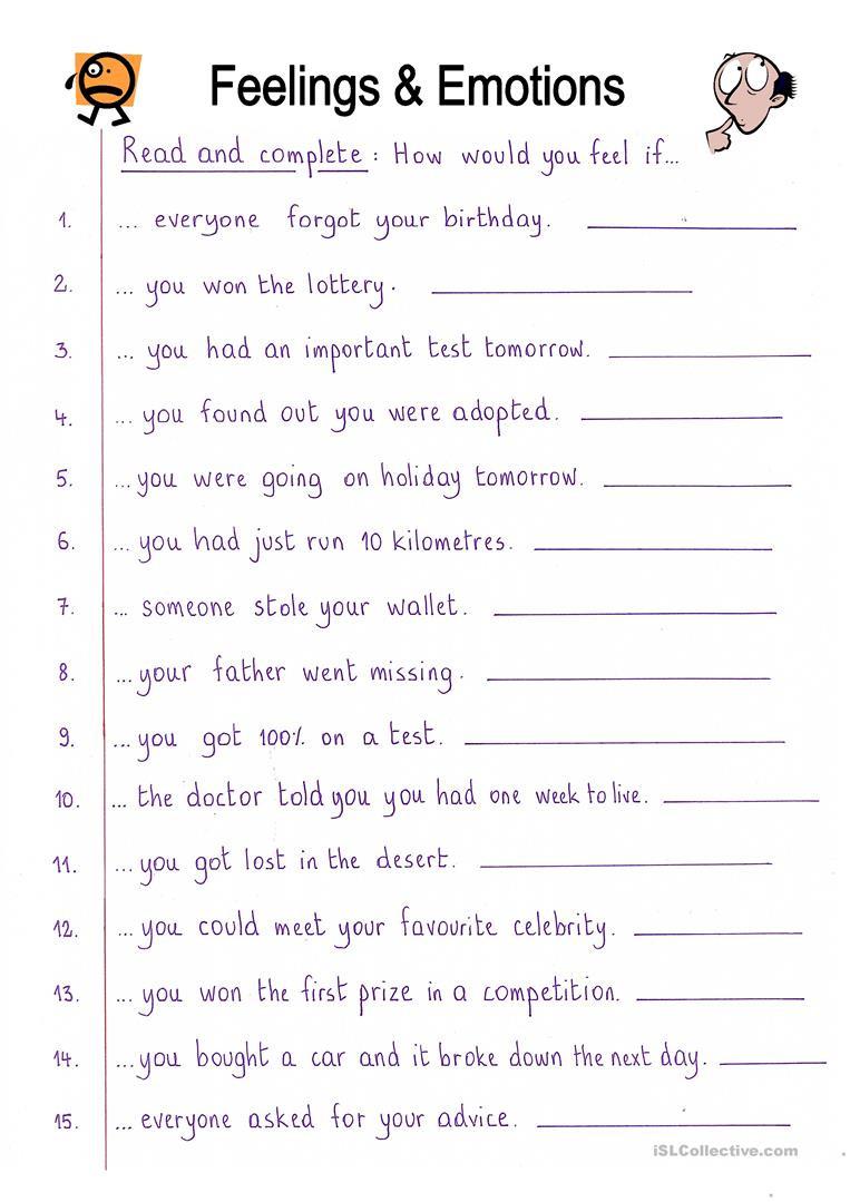 Feelings and Emotions Worksheets Printable English Esl Feelings Emotions Worksheets Most Ed