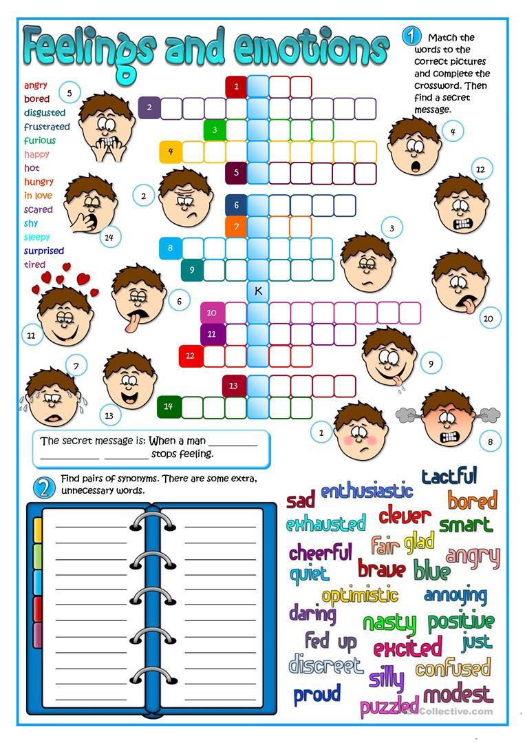 Feelings and Emotions Worksheets Printable Feeling and Emotions English Esl Worksheets for Distance