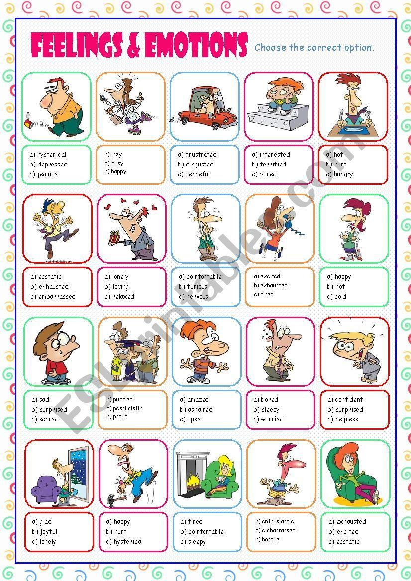 Feelings and Emotions Worksheets Printable Feelings & Emotions Multiple Choice Esl Worksheet by