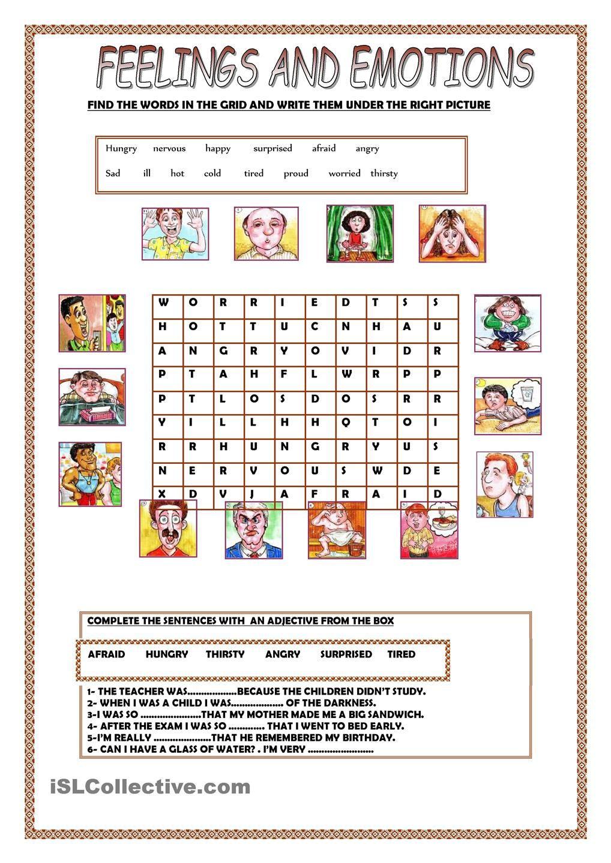 Feelings and Emotions Worksheets Printable Feelings and Emotions
