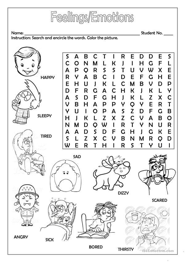 Feelings and Emotions Worksheets Printable Feelings Emotions