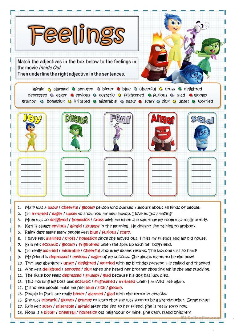 Feelings and Emotions Worksheets Printable Inside Out Feelings and Emotions English Esl Worksheets