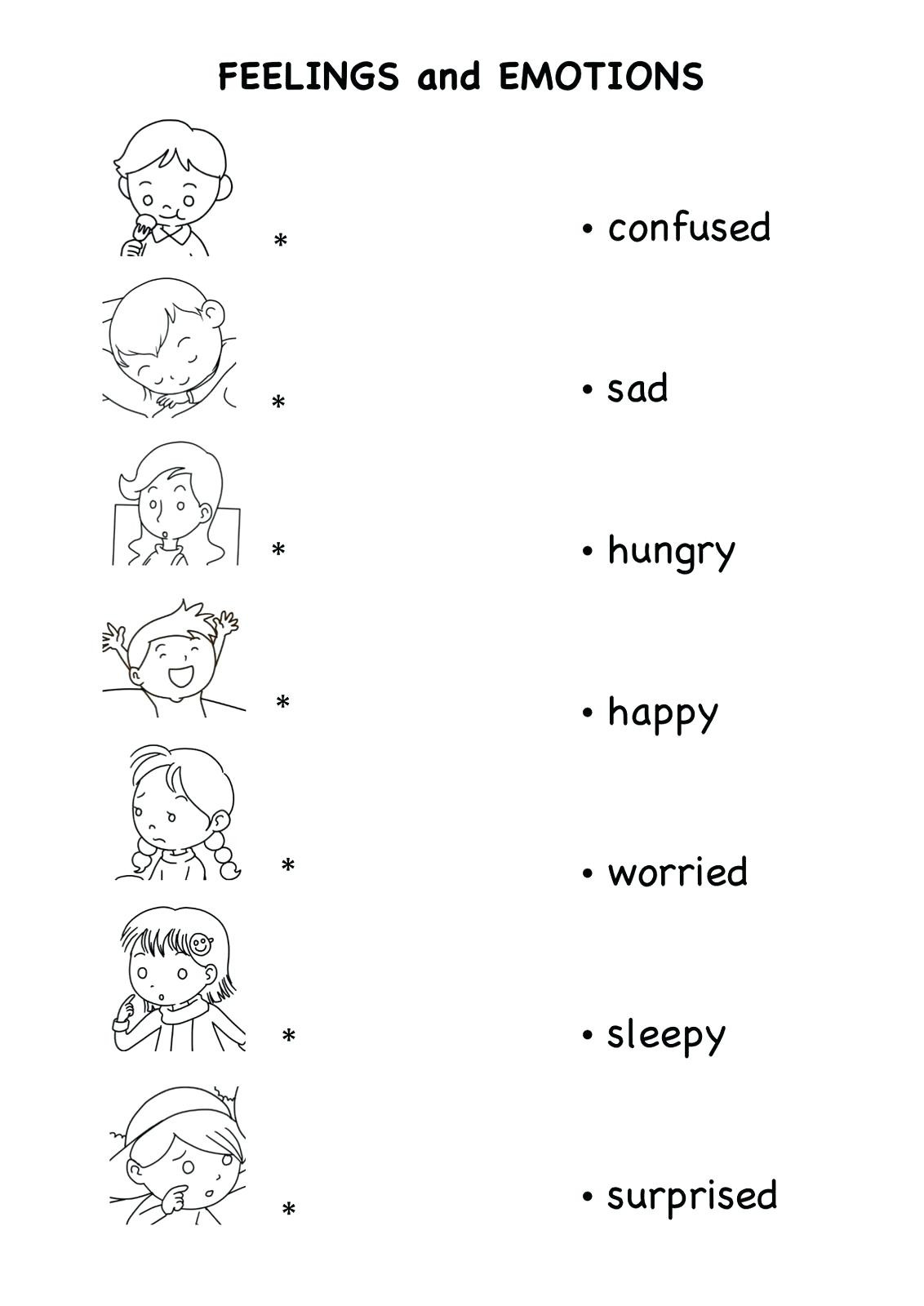 Feelings Worksheets for Kindergarten Preschool Emotions Worksheet Clover Hatunisi