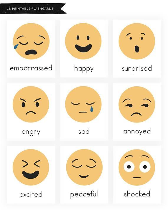 Feelings Worksheets for Preschoolers Emotions and Feelings Printable Worksheets Emotions Flashcards Feelings Flashcards Emoji Flashcards Preschool Kindergarten