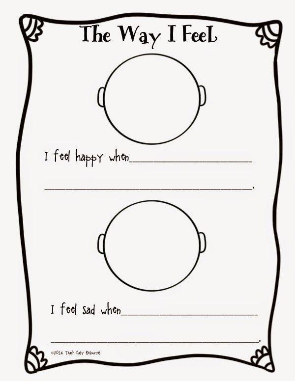 Feelings Worksheets for Preschoolers Feelings Worksheet and Mini Book for Pre K to 1