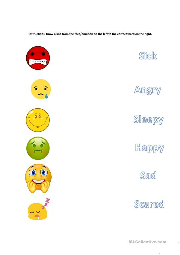 Feelings Worksheets for Preschoolers Matching Emotions English Esl Worksheets for Distance