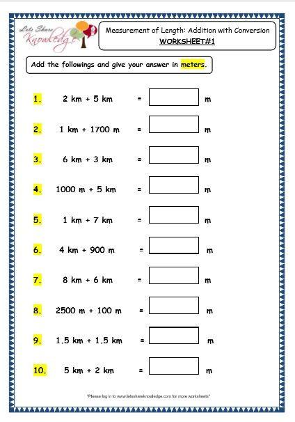 Fifth Grade Measurement Worksheets Grade 3 Maths Worksheets 11 3 Measurement Of Length