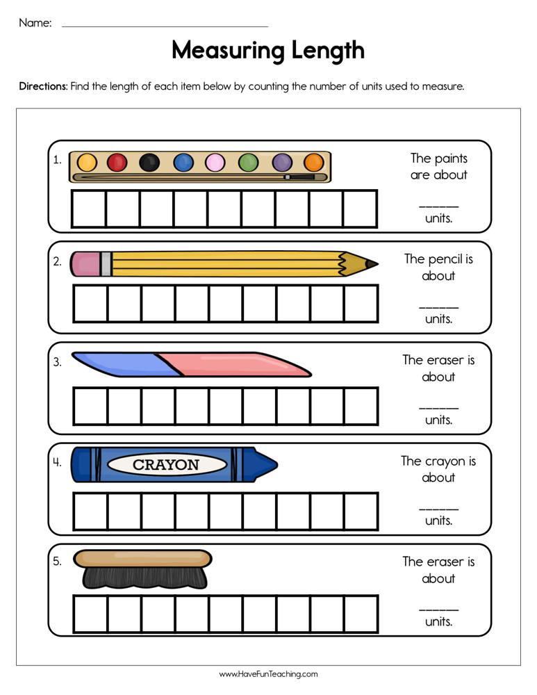 Fifth Grade Measurement Worksheets Measuring Length Worksheet