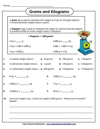 Fifth Grade Measurement Worksheets Weight Grams and Kilograms Worksheets