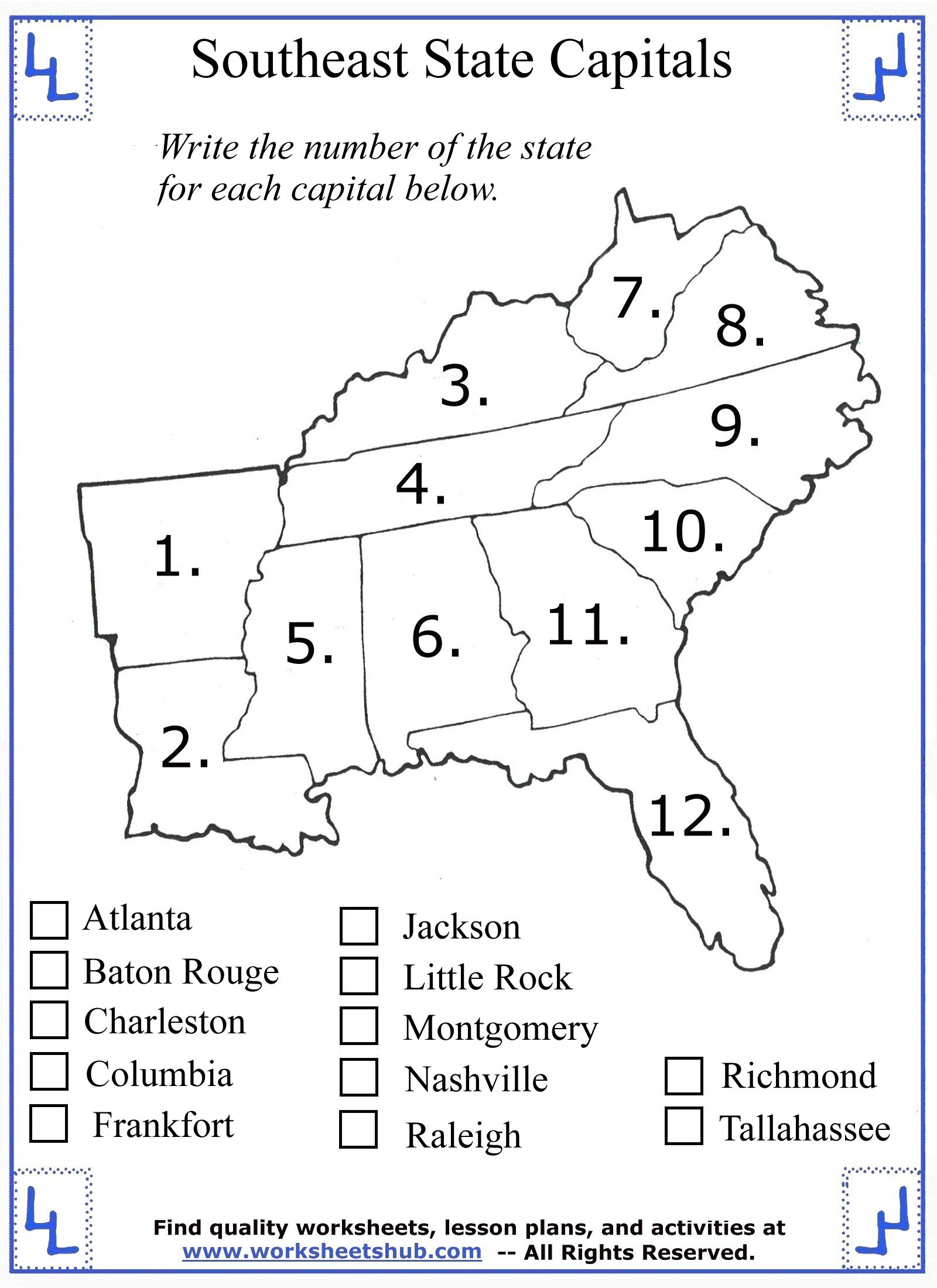 First Grade History Worksheets 4th Grade social Stu S southeast Region States