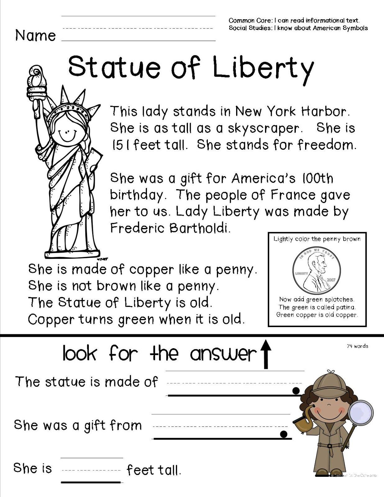 First Grade History Worksheets American Symbols with Images