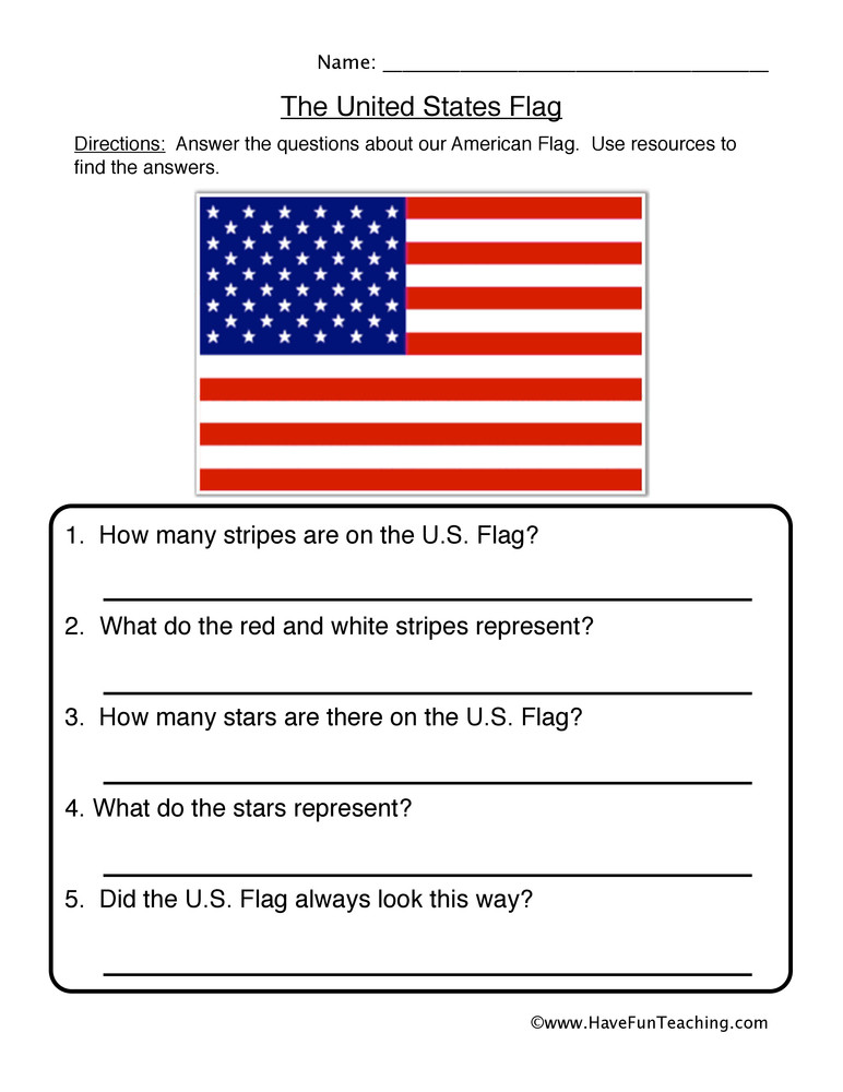 First Grade History Worksheets United States Flag Worksheet