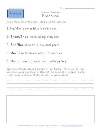First Grade Pronoun Worksheets Choose the Pronoun Worksheet
