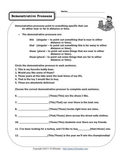 First Grade Pronoun Worksheets Demonstrative Pronouns