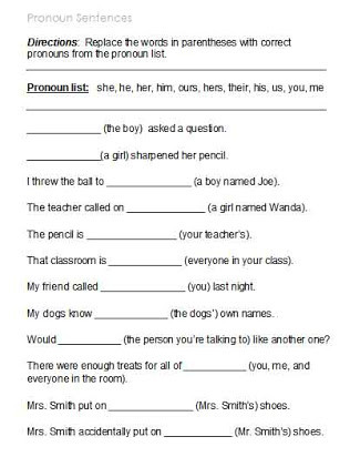 First Grade Pronoun Worksheets Free Printable Pronoun Worksheets