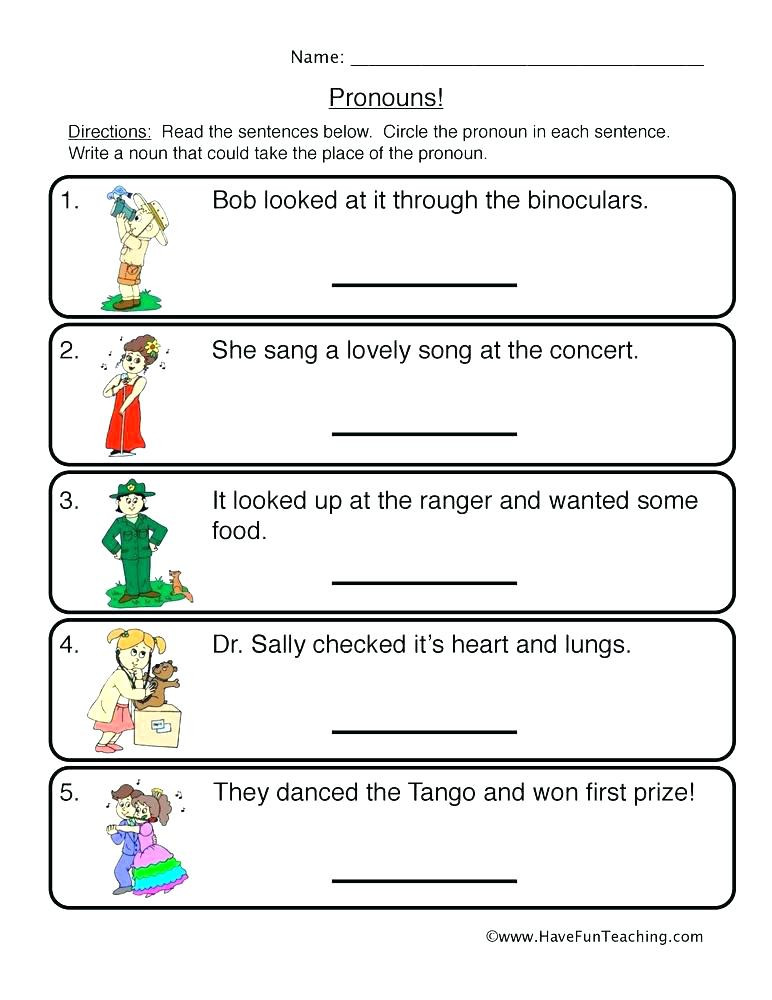 First Grade Pronoun Worksheets Nouns and Pronouns Worksheets First Grade Summer Worksheets